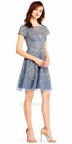 Aidan Mattox Sequin Embellish Short Sleeve Fit and Flare Cocktail Dress