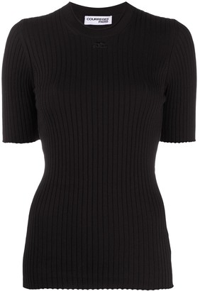 Courreges Logo-Patch Ribbed Top