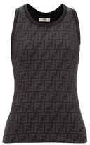 Fendi Ff Logo-print Stretch-jersey Tank Top - Womens - Black