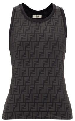 Fendi Ff Logo-print Stretch-jersey Tank Top - Womens - Black