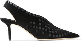 Jimmy Choo SAISE 65 Black Suede Slingback Mules with Nappa Leather Whipstitching