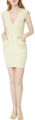 BCBGeneration Floral Flutter Sleeve Drape Pocket Sheath Dress