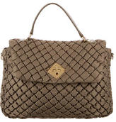 Moschino Leather-Accented Quilted Nylon Satchel