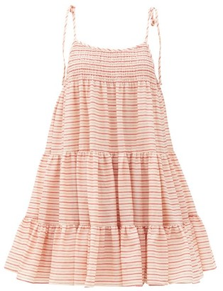 Solid & Striped The Parker Striped Cotton Mini Dress - Pink Stripe