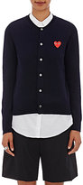 Comme des Garcons Women's Heart Patch Wool Cardigan-NAVY