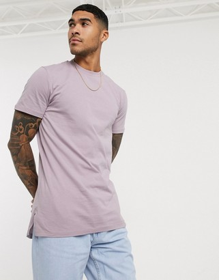 ASOS DESIGN longline t-shirt with side splits in gray