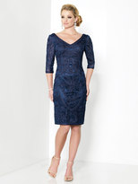Mon Cheri Social Occasions - Quarter Length Sleeves V-Neck Dress 215818