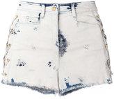 Balmain bleached lace-up denim shorts - women - Cotton/Spandex/Elastane - 36