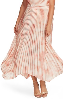 Vince Camuto Surreal Garden Handkerchief Hem Pleated Skirt