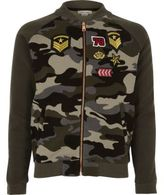 River Island Girls khaki camo badge bomber jacket