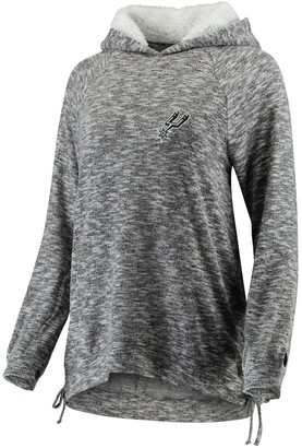 Women's FISLL Heathered Gray San Antonio Spurs Side Lace Sherpa Hacci Tri-Blend Pullover Hoodie