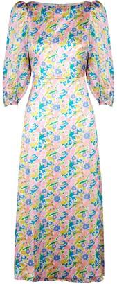 Olivia Rubin Lara Floral-print Satin Midi Dress