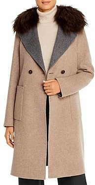 Maximilian Furs Fox Fur Trim Color-Blocked Wool Coat - 100% Exclusive