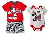 Mickey Mouse Newborn Boys' 3 Piece Bodysuit, Top & Short Set - Red
