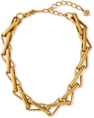 Oscar de la Renta R Small Chain Link Intertwined Necklace