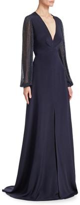 Ahluwalia Yasmeen Silk Deep-V Gown