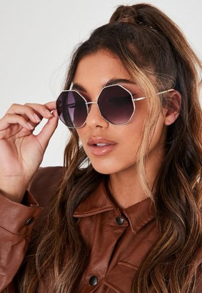 Missguided Silver Look Octagon Sunglasses