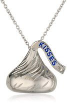 "Hershey Jewelry Sterling Medium Flat Back Shaped w/ diamond accent Pendant 15""+2"" Extender"