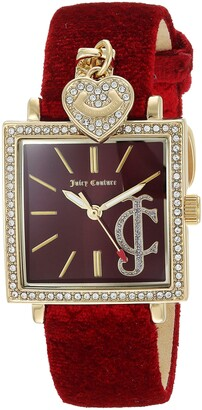 Juicy Couture Black Label Women's Swarovski Crystal Accented Gold-Tone and Red Velvet Strap Watch