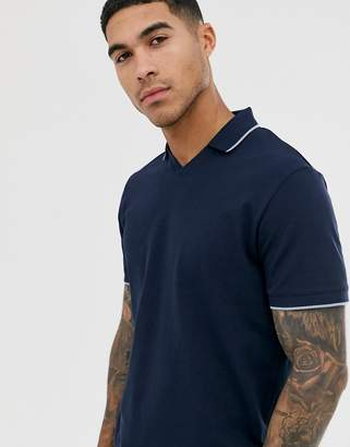 Selected pique revere collar polo shirt with tipped collar in navy