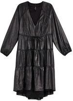 Melissa McCarthy Plus Long Sleeve Tiered A-Line Faux Leather Dress