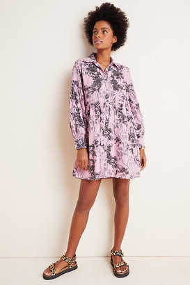 Anthropologie Lavinia Embroidered Shirtdress By in Blue Size 0
