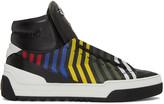 Fendi Black Faces Zig Zag High-top Sneakers