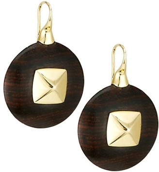 Maria Canale Voyager 18K Yellow Gold & Wood Disc Drop Earrings