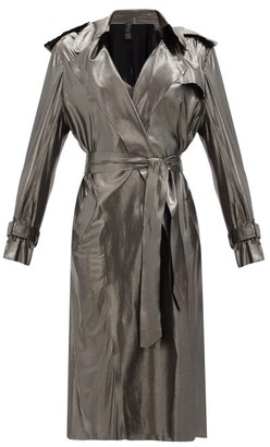 Norma Kamali Double-breasted Metallic-jersey Trench Coat - Silver