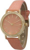 Olivia Pratt Denim Rhinestone Leather Watch.