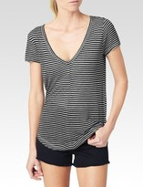 Paige Hadley Stripe Tee - Black/White Mini Stripe