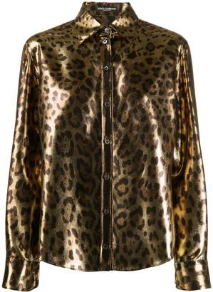 Dolce & Gabbana Metallic Leopard Print Shirt