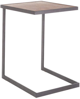 Lumisource Industrial Zenn End Table, Black Metal and Walnut Wood