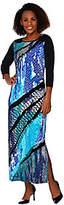 Bob Mackie Bob Mackie's 3/4 Sleeve Reptile Printed Knit Maxi Dress with Side Slit