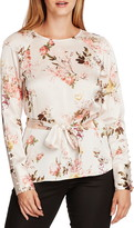 Vince Camuto Beautiful Blooms Belted Satin Blouse