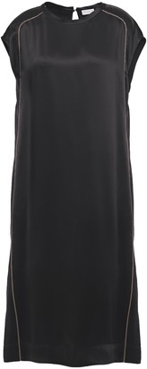 Brunello Cucinelli Bead-embellished Satin Midi Dress