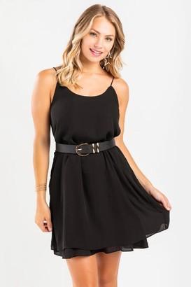 francesca's Avette Double Layer Cami Dress - Black