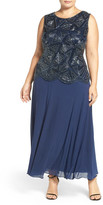 Pisarro Nights Beaded Mock Two-Piece Sleeveless Gown (Plus Size)