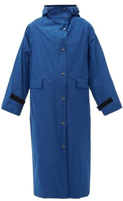 Kassl Editions Hooded Taffeta Trench Coat - Blue