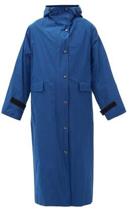 Kassl Editions - Hooded Taffeta Trench Coat - Womens - Blue