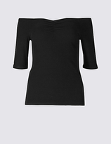 Limited Edition Cotton Rich Ribbed Half Sleeve Bardot Top