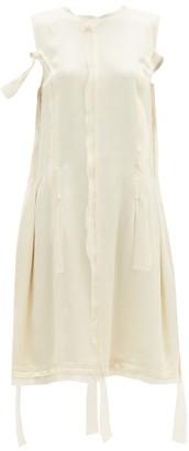Maison Margiela Raw-edge Satin Dress - Cream