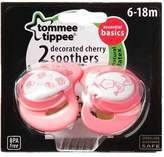 Tommee Tippee Essential Basics Decorated Cherry Soothers 6-18 months (2-pack) by