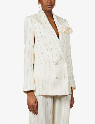 Zimmermann Lovestruck double-breasted stripe-print linen-blend blazer