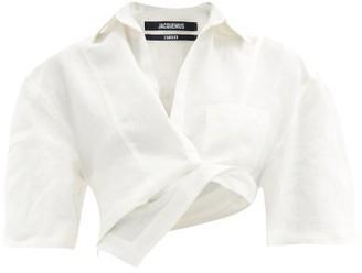 Jacquemus Capri Asymmetric Cotton-blend Cropped Top - Beige