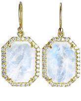 Irene Neuwirth Hexagonal Rose Cut Rainbow Moonstone Earrings with Pave Diamonds - Yellow Gold