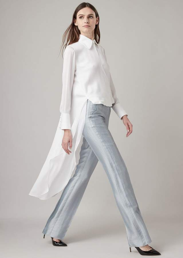 b2530f18d8 Asymmetric Silk Charmeuse Shirt With Rear Tail