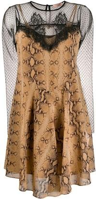 Twin-Set snakeskin-print lace detail dress