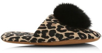 Minnie Rose Fox Fur Pom-Pom Leopard Print Cashmere Slippers