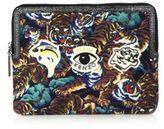 Kenzo Leather-Trim Tiger-Print Tablet Case